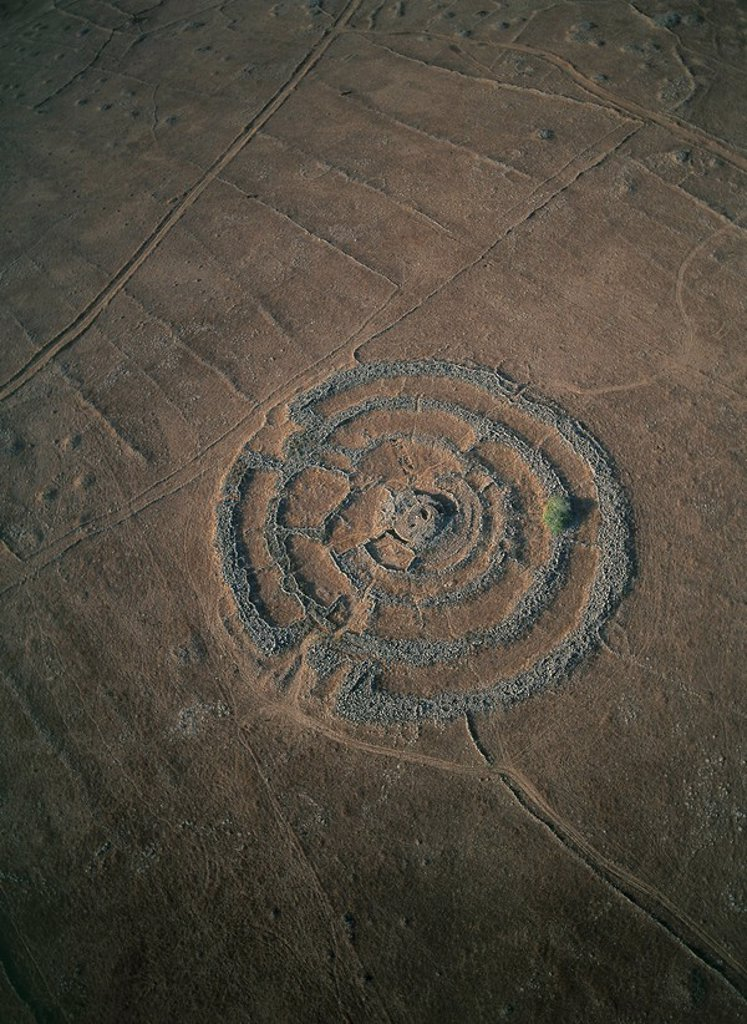 Stock Photo: 4119-3876 Aerial photograph of the Pre_Historic site of Rujum El Hiri in the southern Golan Heights