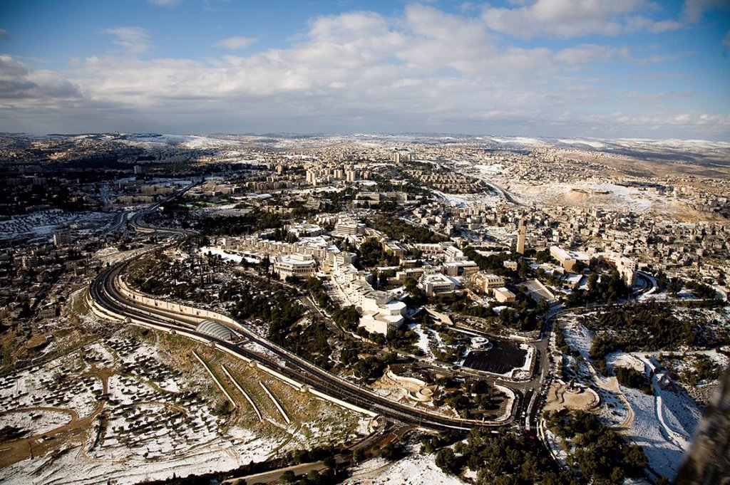 Stock Photo: 4119-4658 Aerial photograph of the Hebrew University on the Zofim mountain in Jerusalem