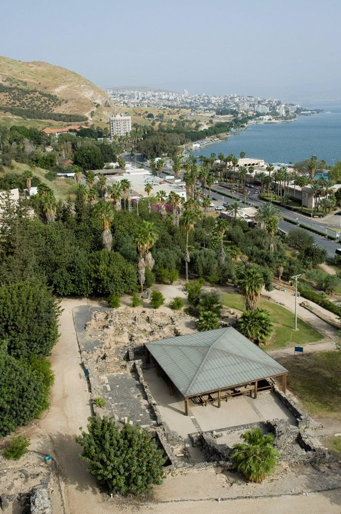 Aerial photograph of the ruins of Hamat Tiberias in the sea of Galilee : Stock Photo