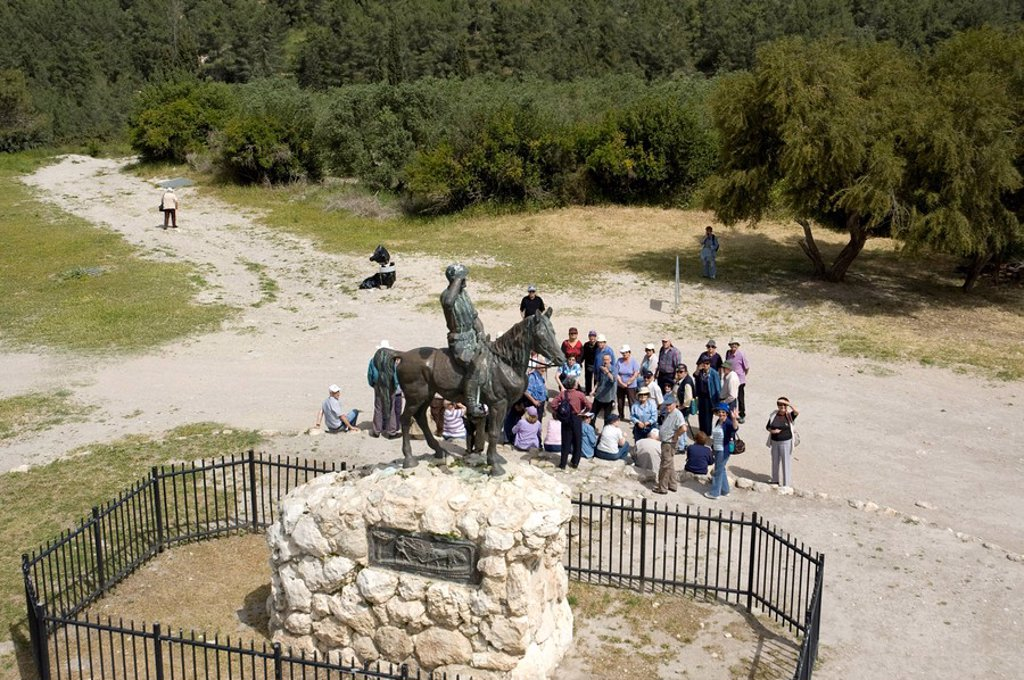 Aerial photograph of the Guardian monument in the lower Galilee : Stock Photo