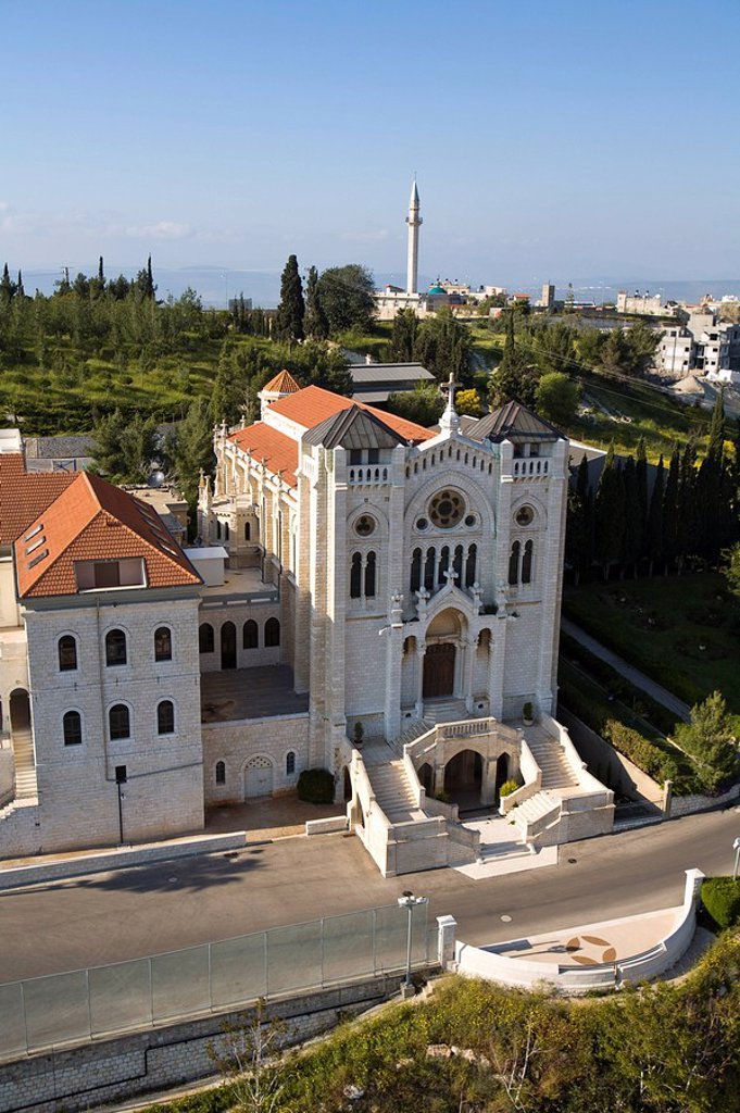 Aerial photograph of the Church of the Adolescent Jesus in Nazareth : Stock Photo