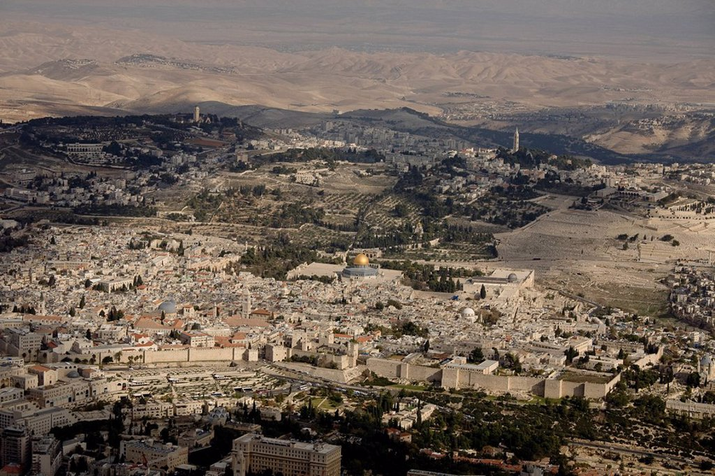 Stock Photo: 4119-6077 Aerial photograph of the old city of Jerusalem