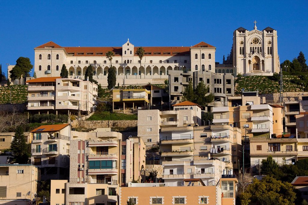 Photograph of the church of the adolescent jesus in Nazareth at Chrismas : Stock Photo