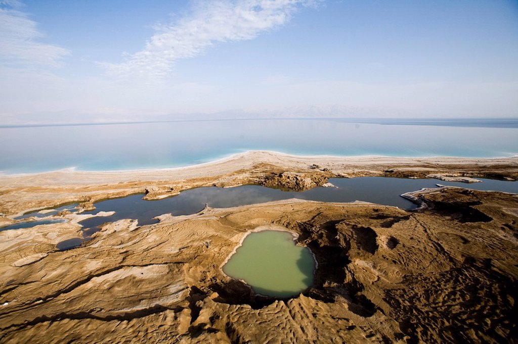 Stock Photo: 4119-6156 Aerial photograph of sinkholes on the shore of the Dead sea