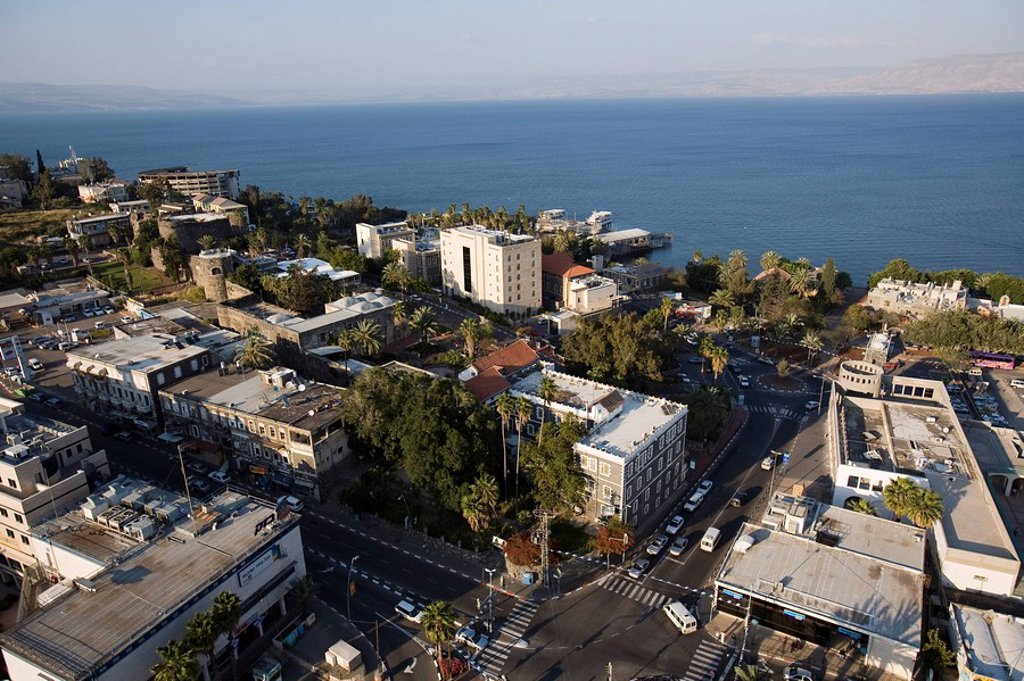 Aerial photograph of 18th century fortress in the modern city of Tiberias in the Sea of Galilee : Stock Photo
