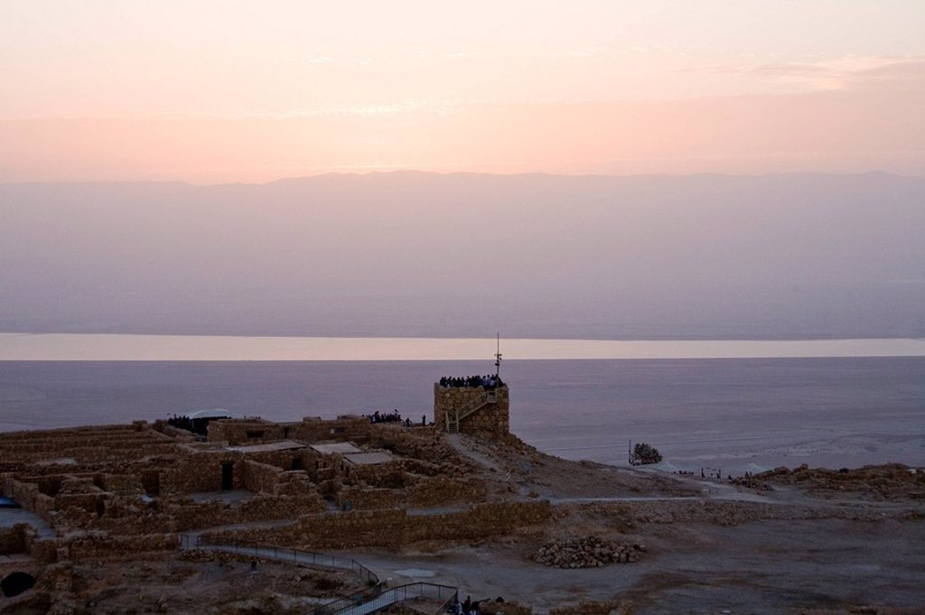 Stock Photo: 4119-6872 Aerial photograph of the sunrise over Masada in the Judean desert