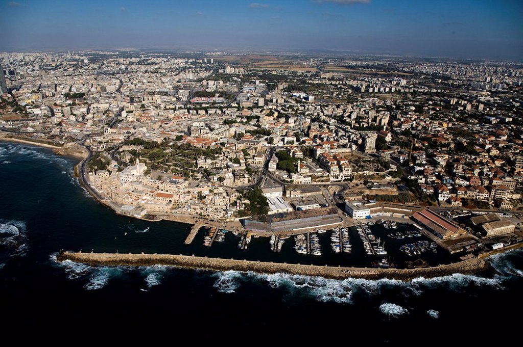 Stock Photo: 4119-7391 Aerial photograph of the port of Jaffa