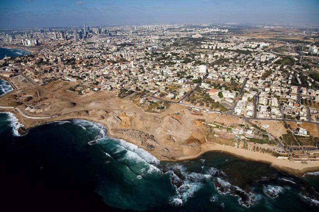 Aerial photograph of Jaffa´s coastline : Stock Photo
