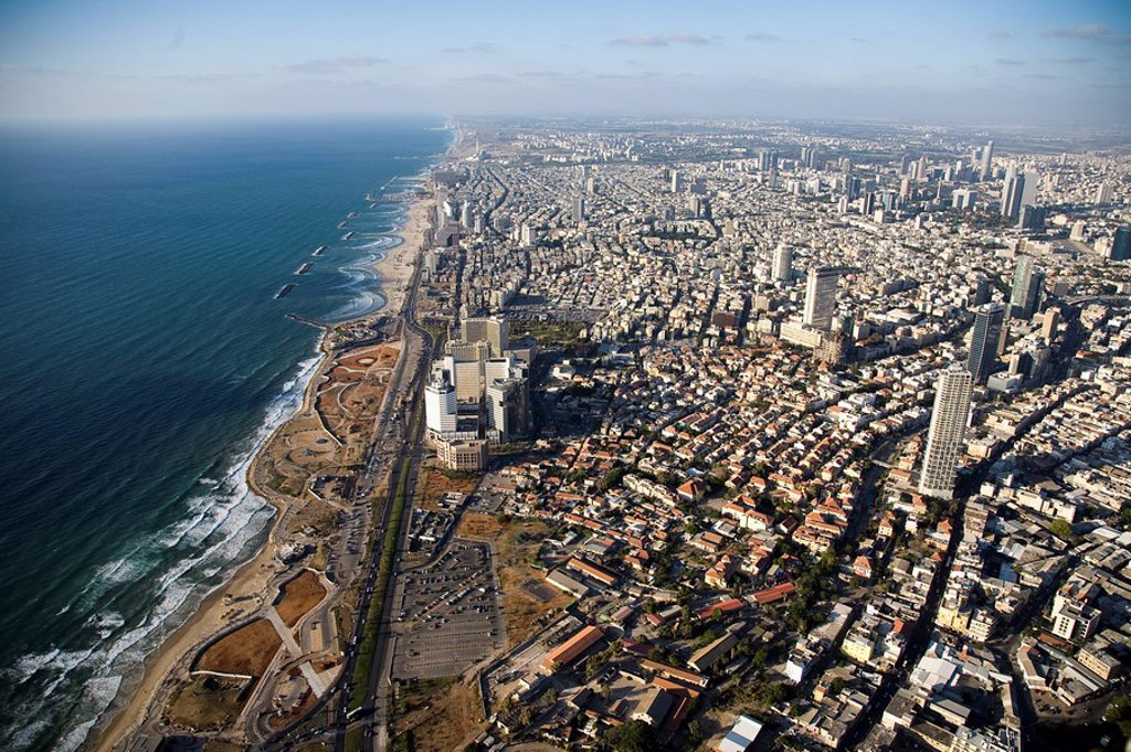 Stock Photo: 4119-7395 Aerial photograph of southern Tel Aviv