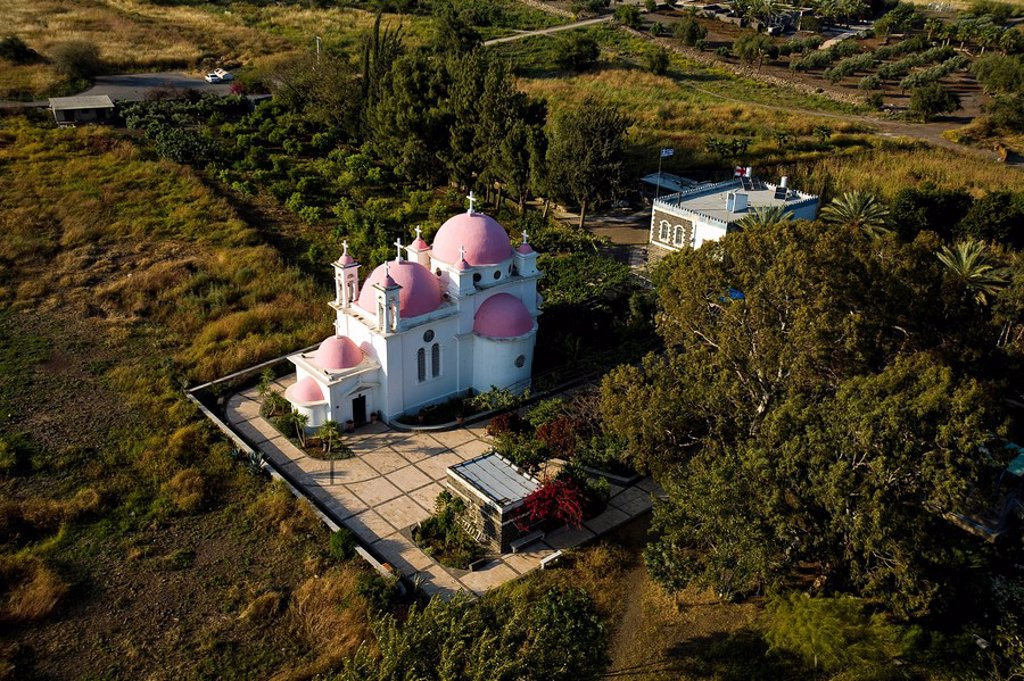 Aerial photograph of the Greek Orthodox church near the Sea of Galilee : Stock Photo