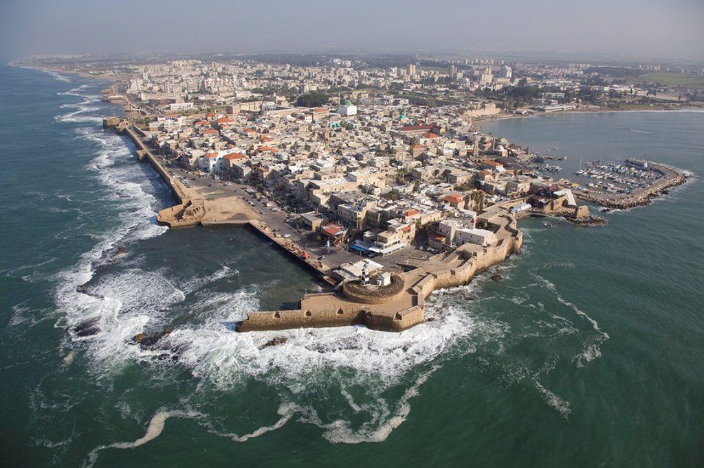 Aerial photograph of the old city of Acre in the Western Galilee : Stock Photo