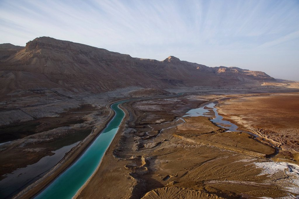 Aerial photograph of an open Canal in the Dead sea : Stock Photo