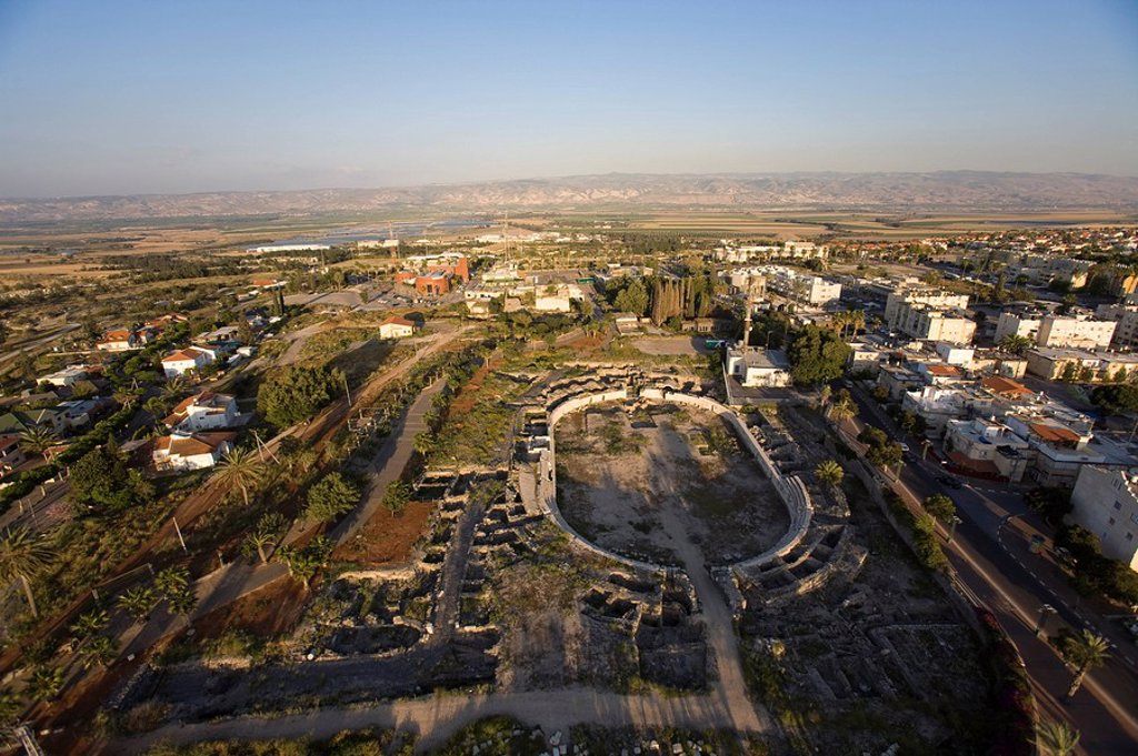 Stock Photo: 4119-7679 Aerial photograph of the ruins of the Roman city of Beit Shean in the Jordan valley