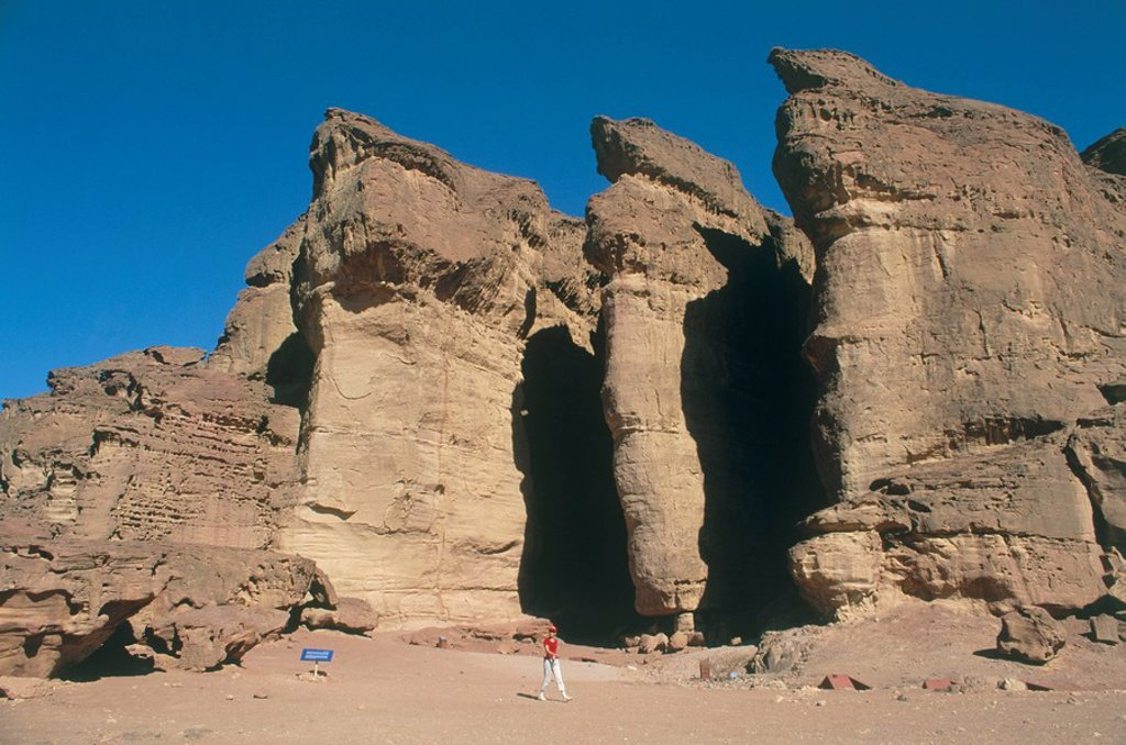 Abstract view of Solomon´s pillars in the Timna valley : Stock Photo