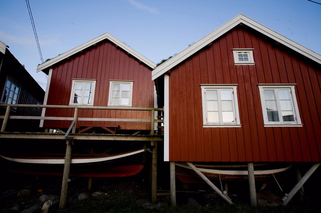 Photograph of a Norwegian fishing village : Stock Photo