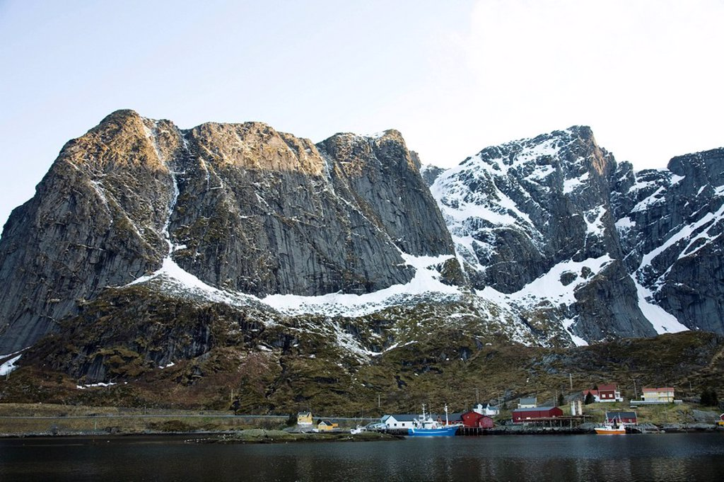 Photograph of a Norwegian fishing village : Stock Photo