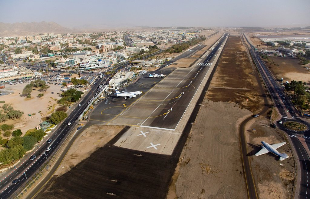 Stock Photo: 4119-8555 An aerial photo of Eilat Airport