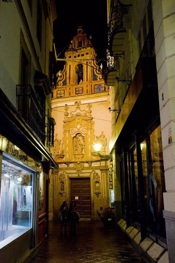 Church by night in Sevilla : Stock Photo