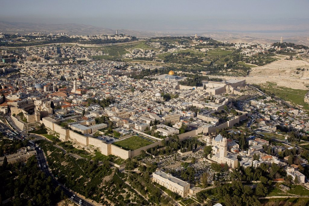 Stock Photo: 4119-8994 Aerial photograph of the old city of Jerusalem