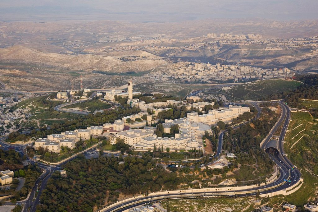 Aerial photograph of the Hebrew university on mount Scopus : Stock Photo
