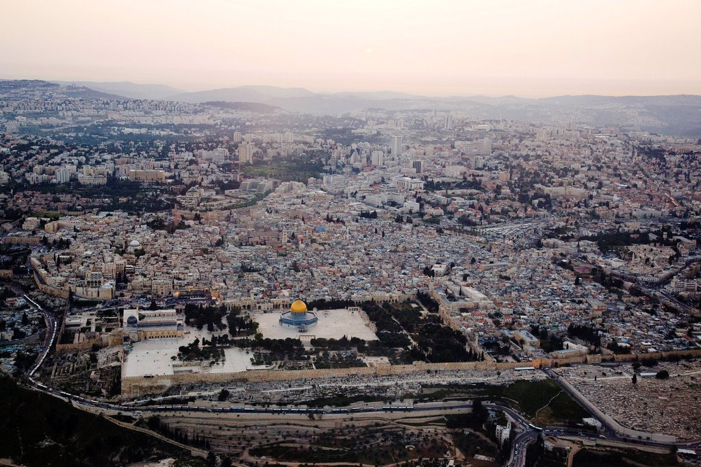 Aerial photograph of the temple mount and the Dome of the Rock in the old city of Jerusalem : Stock Photo