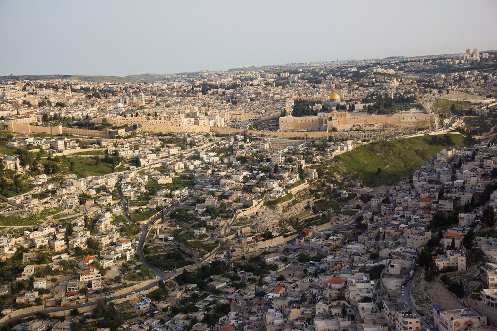 Aerial photograph of the Biblical site of City of David outside the old city of Jerusalem : Stock Photo