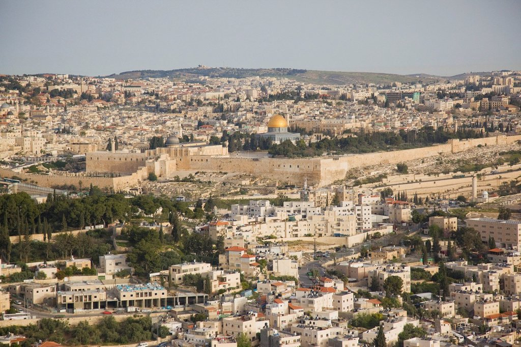 Aerial photograph of the Temple mount and the biblical site of the city of David : Stock Photo
