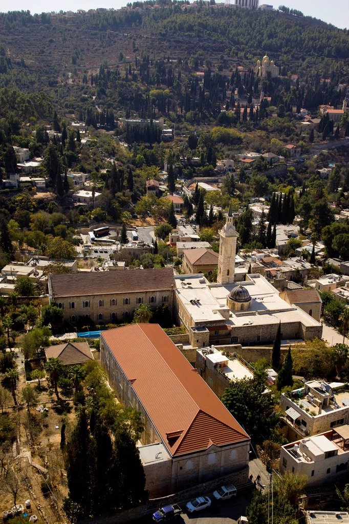 Aerial view of the church of St. John the baptist in Ein Karem, Jerusalem : Stock Photo