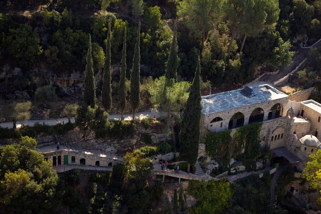 An aerial photo of the Franciscan monastryof St. John in the willderness at Ain Habis : Stock Photo