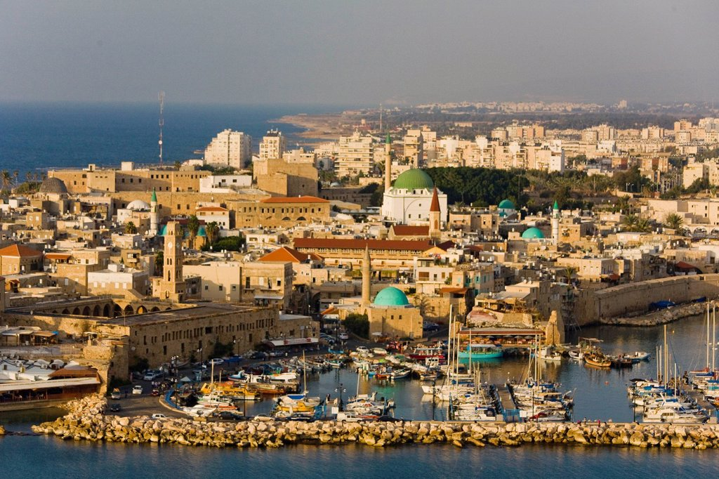 An aerial photo of Acre old city : Stock Photo