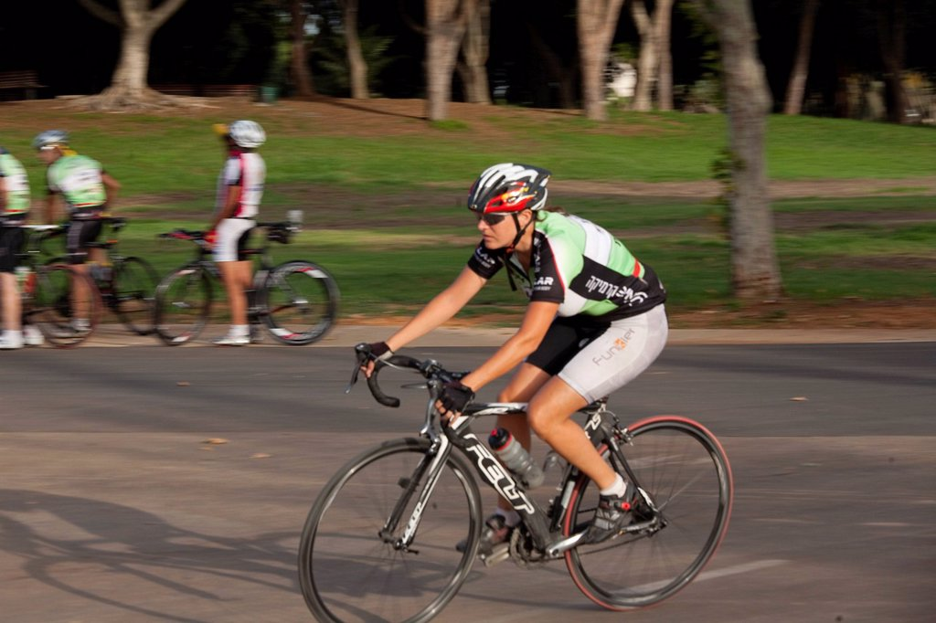 Photograph of a bicycle rider in the Yarkon Park _ the green lungs of the city of Tel Aviv : Stock Photo