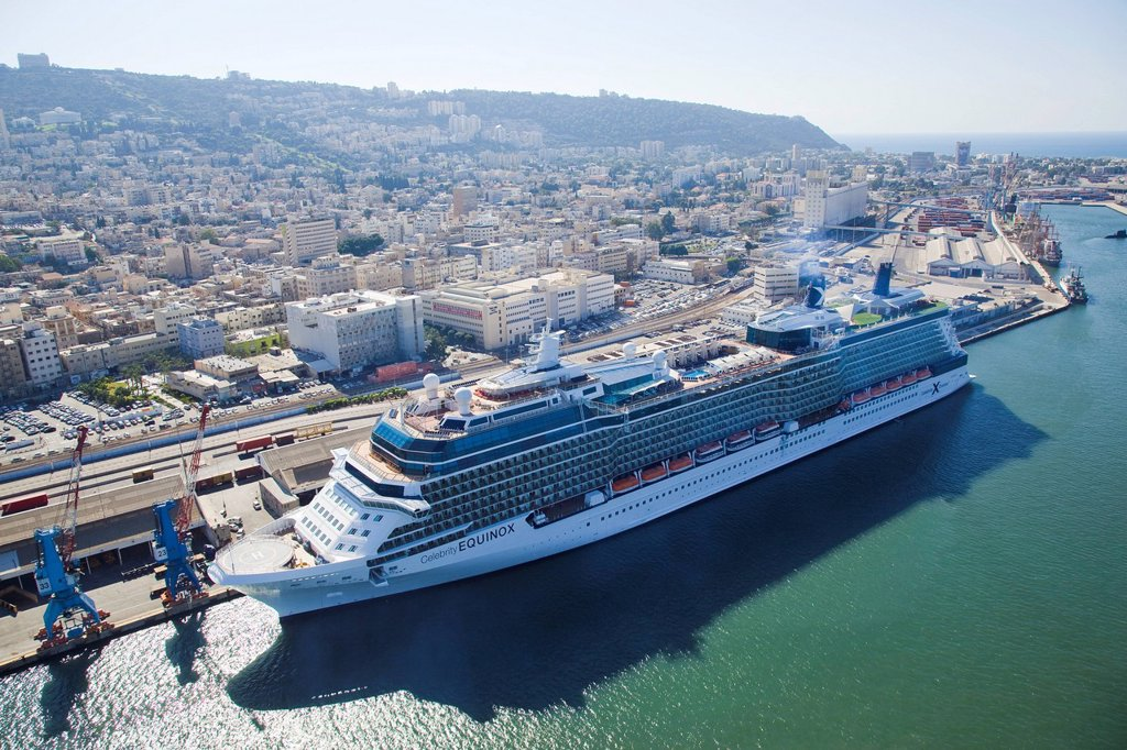 Aerial photograph of the luxuriy passenger ship of Celebrity Equinox docking in the port of Haifa : Stock Photo
