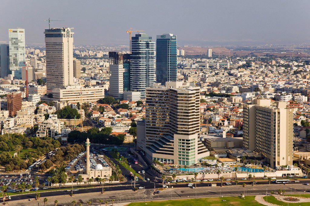 Stock Photo: 4119-9892 Aerial photograph of the coastline of Tel Aviv