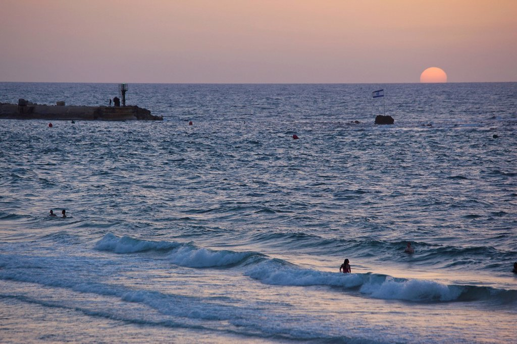 Stock Photo: 4119-9912 Photograph of the coastline of Tel Aviv at dusk