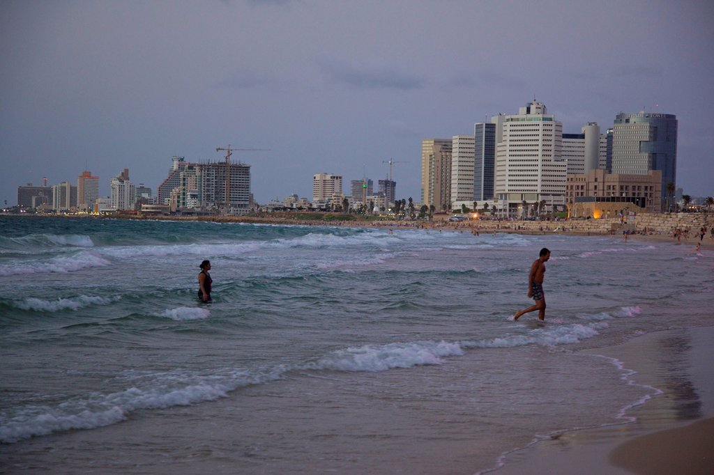 PHotograph of the coastline of Tel Aviv after sunset : Stock Photo