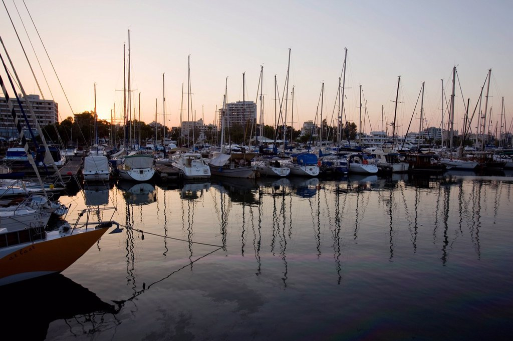 Photograph of a marina in Cyprus at dusk : Stock Photo