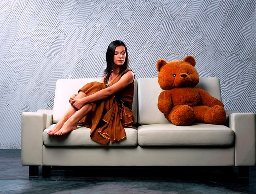 Woman with bear : Stock Photo