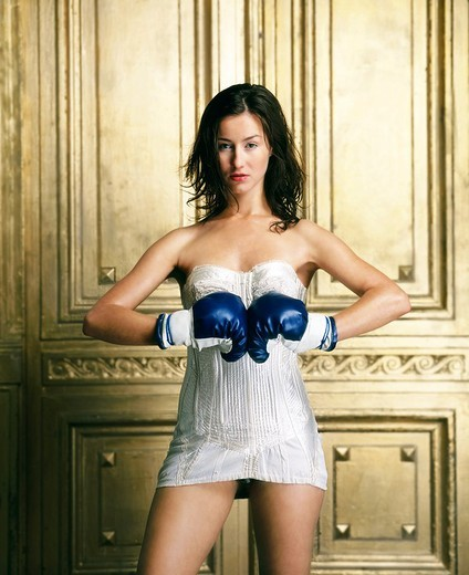 Woman with boxing gloves : Stock Photo