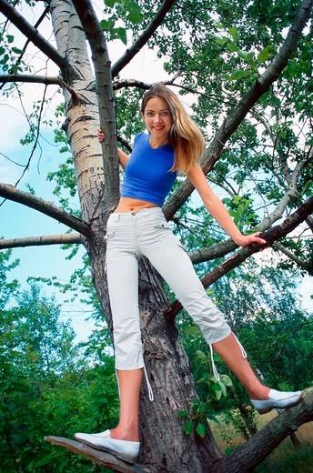Woman on the tree : Stock Photo