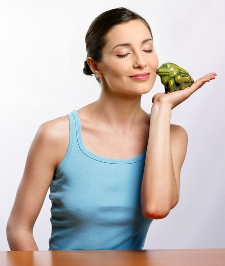 Woman with frog : Stock Photo