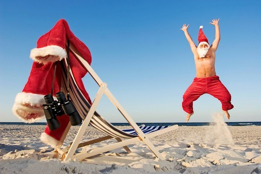 Santa claus on the beach : Stock Photo