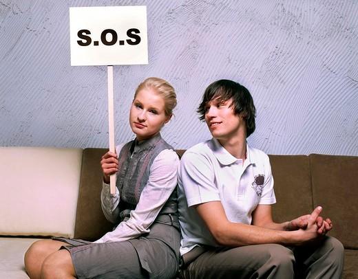 Stock Photo: 4123-18695 Couple on sofa