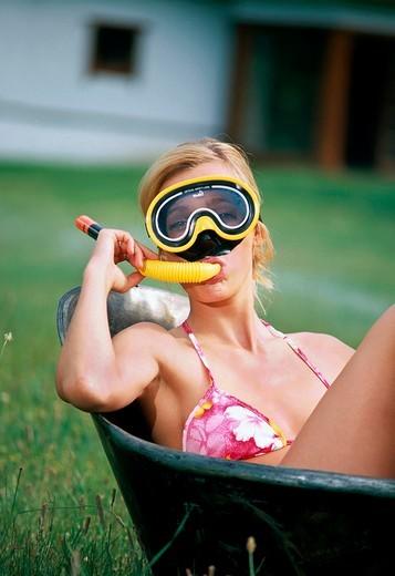 Girl in bathtub : Stock Photo