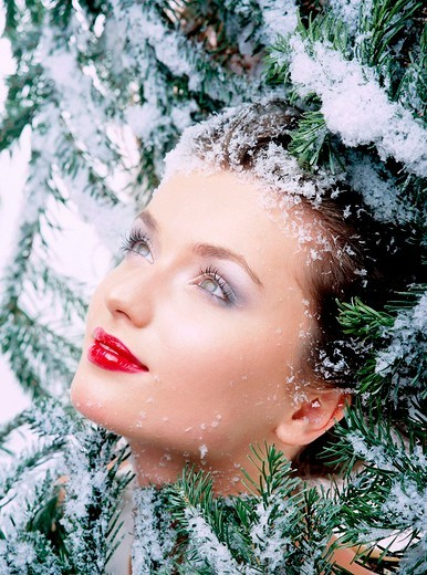 Girl with christmas decoration : Stock Photo