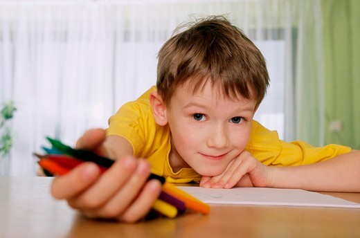 Stock Photo: 4123-22247 Child with crayons