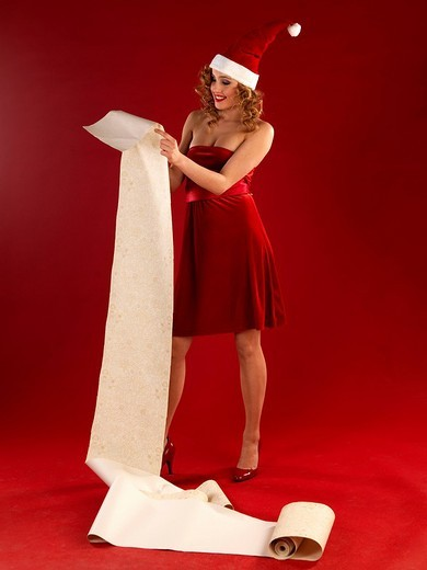 Woman in christmas disguise : Stock Photo