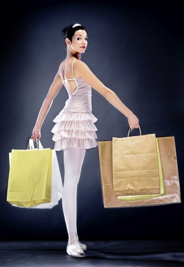 Stock Photo: 4123-23366 Ballerina with shopping bags
