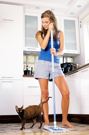 Woman cleaning kitchen : Stock Photo