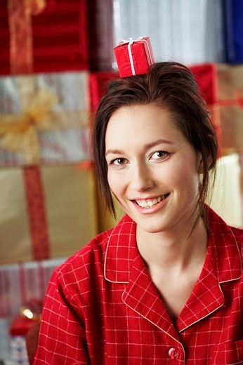 Woman with gift : Stock Photo