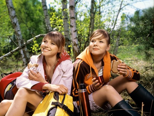 Two girls in the forest : Stock Photo
